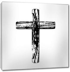 Obraz na płótnie canvas - Wooden cross on a white background