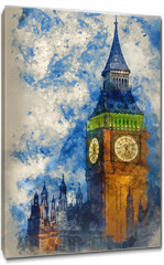 Obraz na płótnie canvas - Watercolor painting of Big Ben at twilight witth lights making architecture glow in the coming darkness