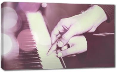 Obraz na płótnie canvas - Experienced hand of the old music teacher helps the child pupil