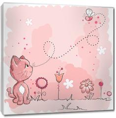 Obraz na płótnie canvas - Kitty and butterfly
