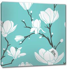 Obraz na płótnie canvas - blue magnolia pattern