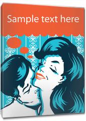 Obraz na płótnie canvas - Kissing Couple retro vintage style