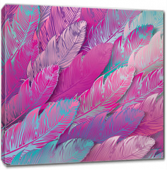 Obraz na płótnie canvas - Seamless background of iridescent pink feathers, close up