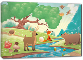 Obraz na płótnie canvas - Animals in the wood. Vector landscape, isolated objects.