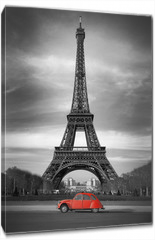 Obraz na płótnie canvas - Tour Eiffel et voiture rouge- Paris