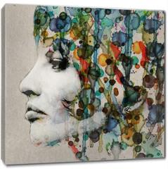 Obraz na płótnie canvas - Watercolor female profile