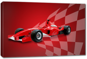 Obraz na płótnie canvas - red formula one car and racing flag