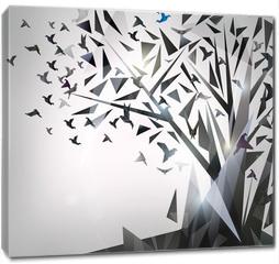 Obraz na płótnie canvas - Abstract Tree with origami birds.
