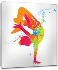 Obraz na płótnie canvas - The dancing boy with colorful spots and splashes. Vector
