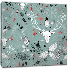 Obraz na płótnie canvas - beautiful texture with portraits of deer