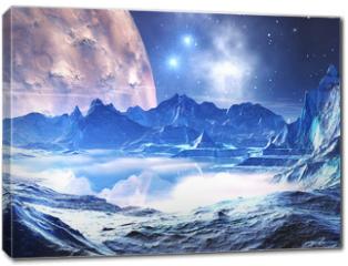 Obraz na płótnie canvas - Distant planet in the grip of winter