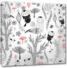 Obraz na płótnie canvas - forest pattern with owls