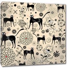 Obraz na płótnie canvas - Flower texture with cats