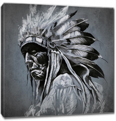 Obraz na płótnie canvas - Tattoo art, portrait of american indian head over dark backgroun