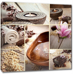 Obraz na płótnie canvas - Spa collage with magnolia flower