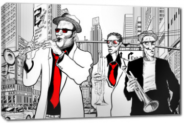 Obraz na płótnie canvas - jazz band in a street of new-York