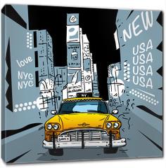 Obraz na płótnie canvas - Time Square New York City Taxi