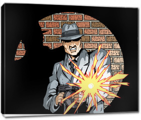 Obraz na płótnie canvas - Comic book drawing of a gangster with a tommygun