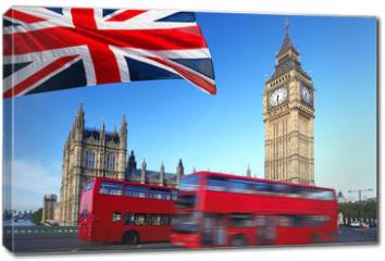 Obraz na płótnie canvas - Big Ben with city bus and flag of England, London