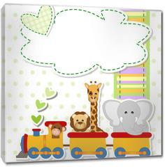 Obraz na płótnie canvas - baby shower - train - trenino con animali