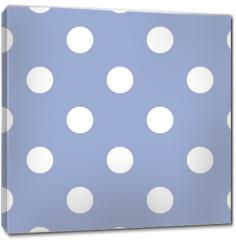 Obraz na płótnie canvas - Retro seamless vector pattern with polka dots, blue background