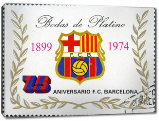 Obraz na płótnie canvas - EQUATORIAL GUINEA - 1974: shows label of Barcelona Soccer Team