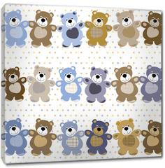 Obraz na płótnie canvas - vector seamless pattern of a toy teddy bear