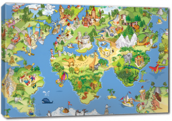 Obraz na płótnie canvas - Great and funny world map