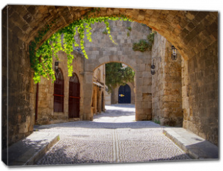 Obraz na płótnie canvas - Medieval arched street in the old town of Rhodes, Greece