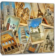 Obraz na płótnie canvas - vintage travel collage background