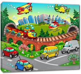 Obraz na płótnie canvas - Funny vehicles in the city. Cartoon and vector illustration.