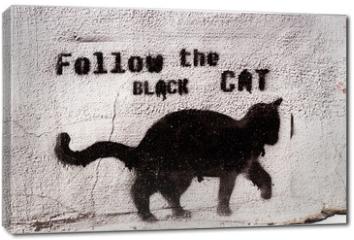 Obraz na płótnie canvas - black cat graffiti