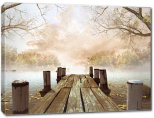 Obraz na płótnie canvas - Jesienna sceneria z drewnianym molo na jeziorze