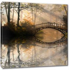 Obraz na płótnie canvas - Autumn - Old bridge in autumn misty park