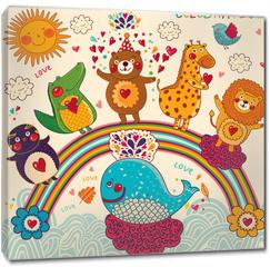 Obraz na płótnie canvas - Vector set of funny, happy animals