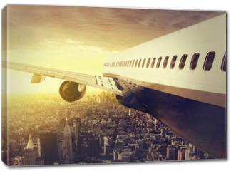 Obraz na płótnie canvas - Airplane over a big City