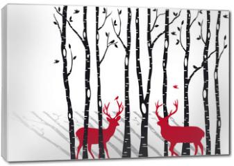 Obraz na płótnie canvas - birch trees with christmas deers, vector