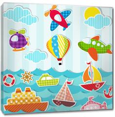 Obraz na płótnie canvas - set of sea and air transport