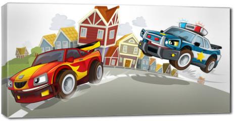 Obraz na płótnie canvas - Sports car racing in the suburbs of the city