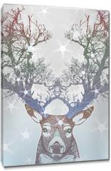 Obraz na płótnie canvas - Frozen tree horn deer