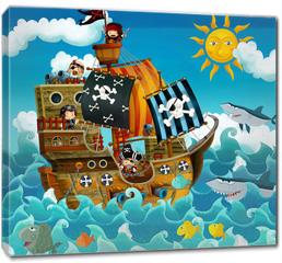Obraz na płótnie canvas - The pirates on the sea - illustration for the children