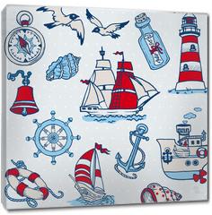 Obraz na płótnie canvas - Nautical Sea Design Elements -for scrapbook and design in vector