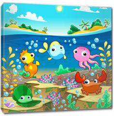 Obraz na płótnie canvas - Happy marine family under the sea.
