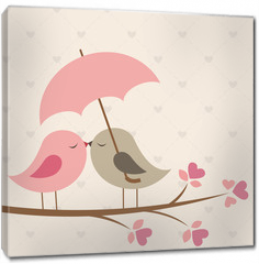 Obraz na płótnie canvas - Birds under umbrella. Romantic card