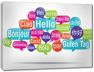 Obraz na płótnie canvas - nuage de mots bulles : bonjour traduction