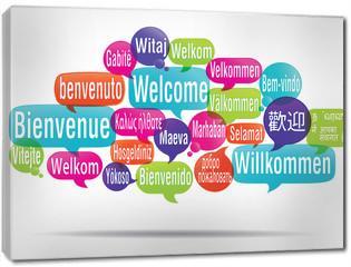 Obraz na płótnie canvas - nuage de mots bulles : bienvenue traduction