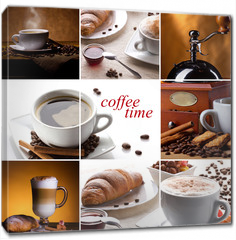 Obraz na płótnie canvas - coffee collage with different cups, coffee mill and croissant
