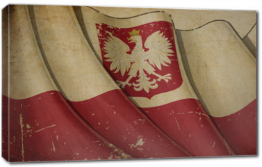 Obraz na płótnie canvas - Polish State Flag (with eagle insignia) Old Paper