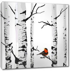 Obraz na płótnie canvas - Bird of birches, vector drawing with editable elements.