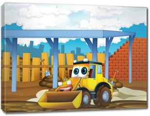 Obraz na płótnie canvas - The cartoon digger - illustration for the children